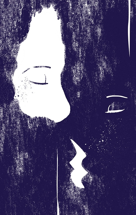 kati-lacey-illustration-editorial-conceptual-visualising-silence-poster-kiss-monochrome-print-silent