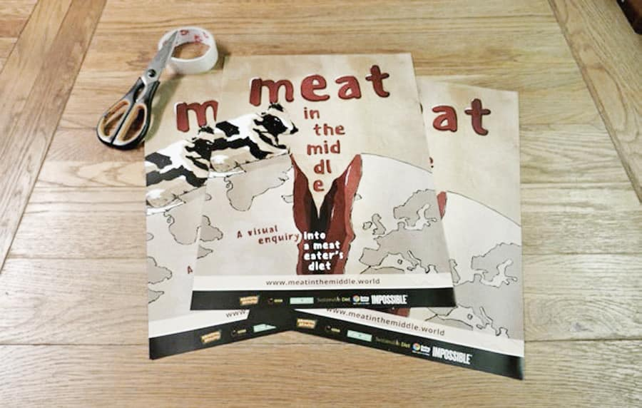 kati-lacey-meatinthemiddle-eat-less-meat-campaign-more-vegetables-split-earth-planet-farmyard-animal-cow-pig-sheep-poster