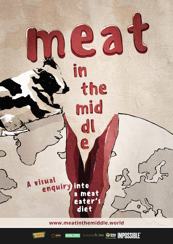 kati-lacey-meatinthemiddle-eat-less-meat-split-earth-planet-farmyard-animal-cow-poster
