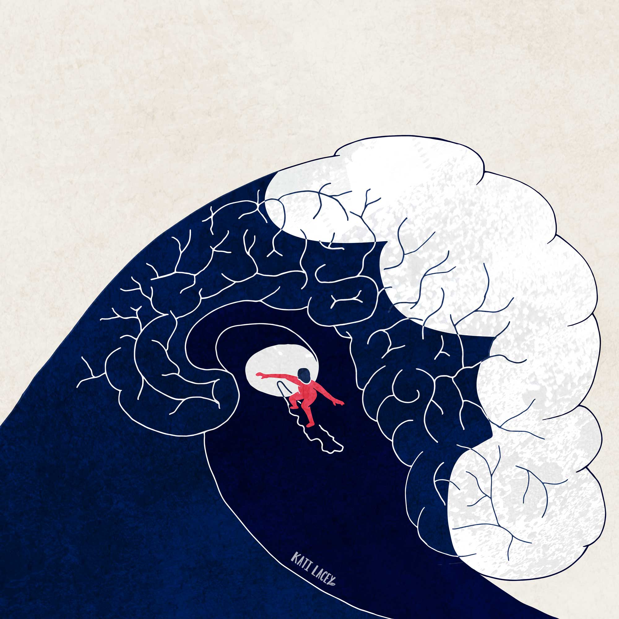 kati-lacey-editorial-illustration-riding the waves of emotions-surfer-brain-tunnel surfing-confidence