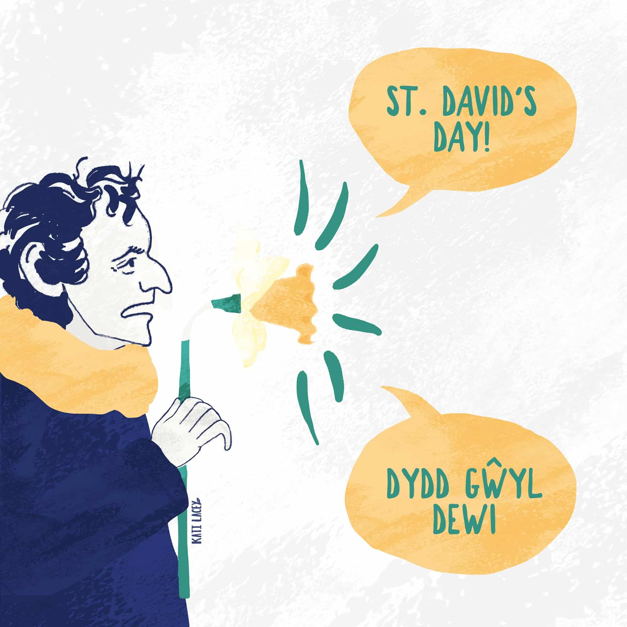 A man using a daffodil as a megaphone to announce St David's Day - It is a snowy scene and speech bubbles with English and Welsh come out of the daffodil megaphone