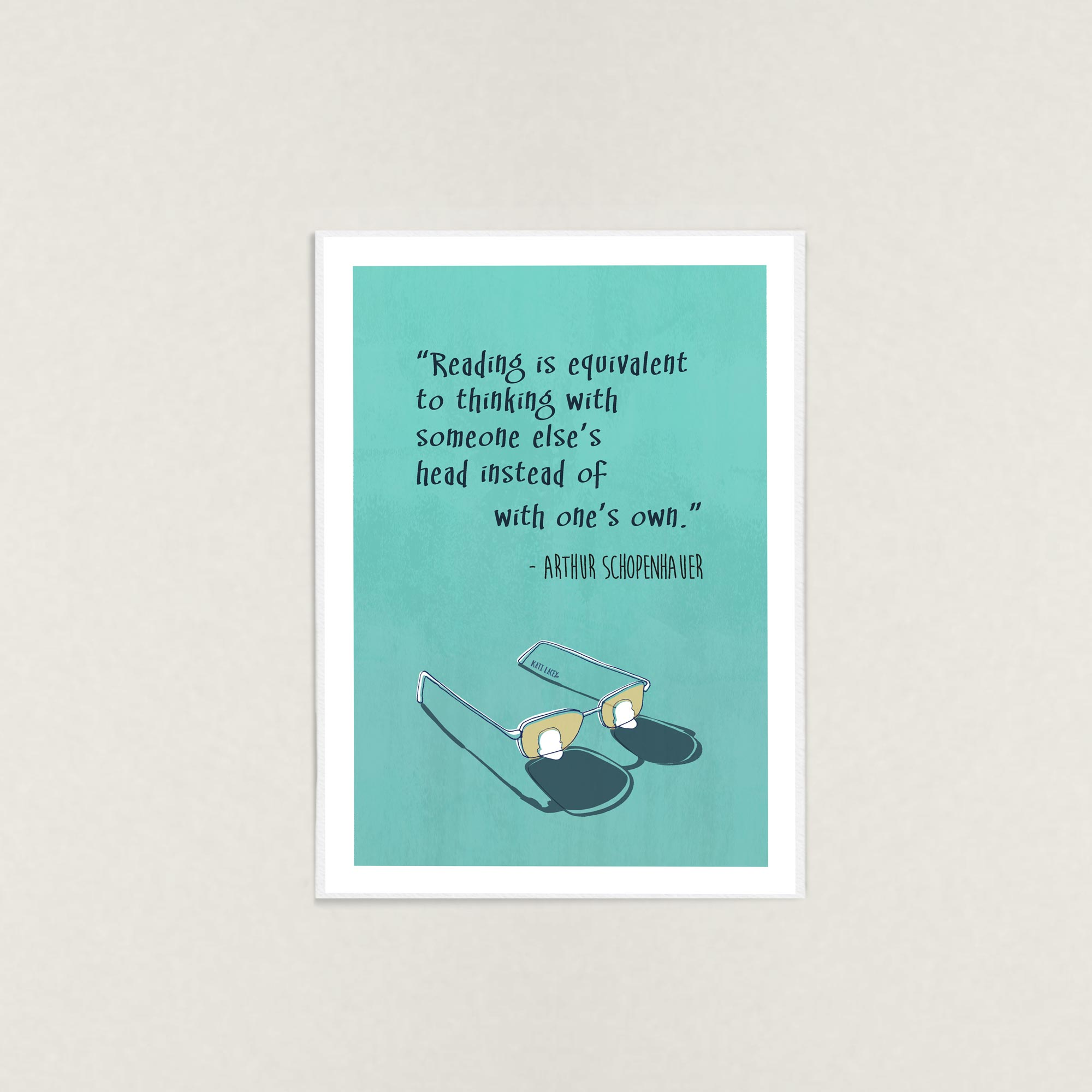 Schopenhauer-Quote-Illustration-Wall-Art-Print-by-Kati-Lacey Illustration-about-reading-and-thinking