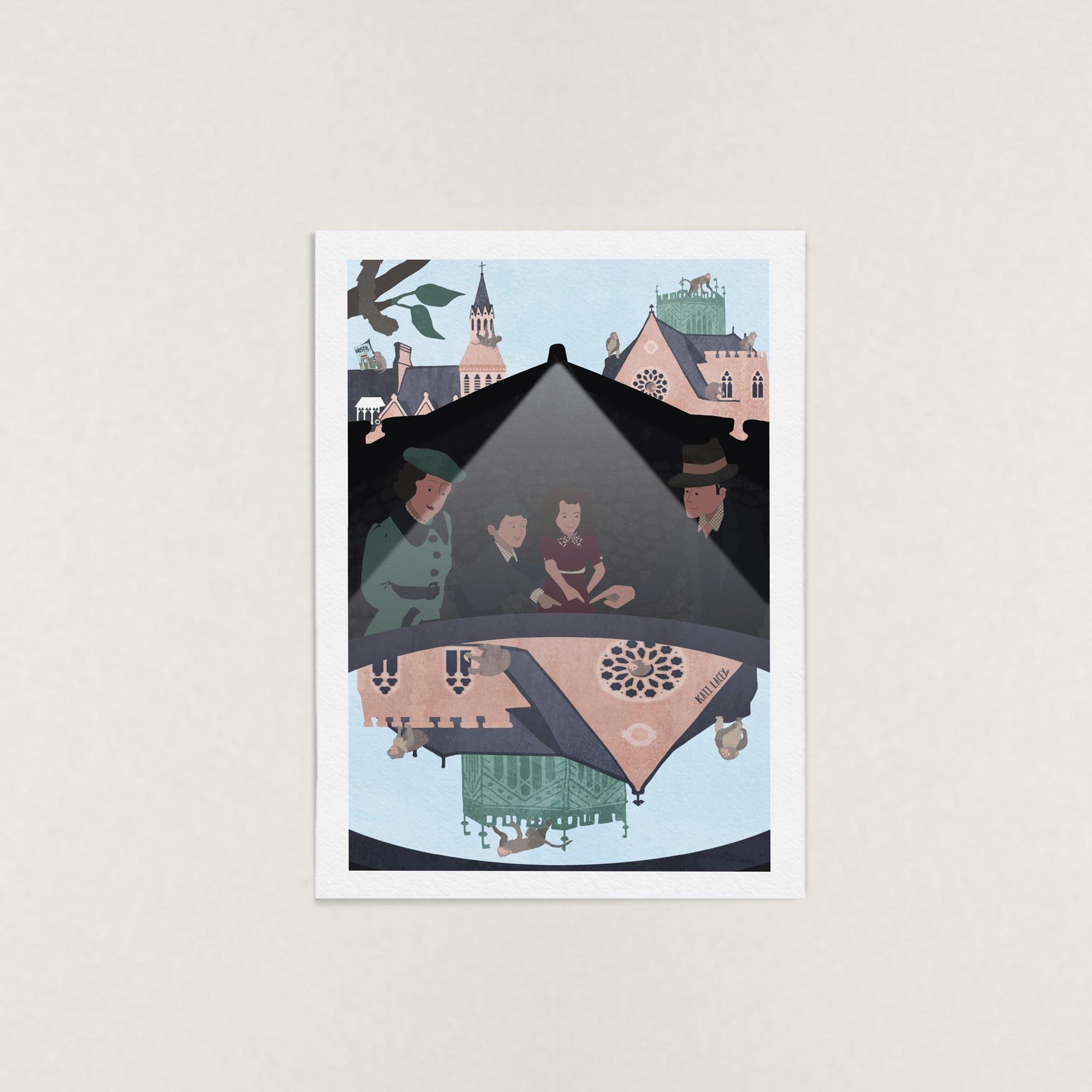 secret-brisstol-clifton-college-suspension-bridge-camera-obscura-cameraobscura-city- scene-cityscene-chaos-manic-1930s-family-illustration-art-print-katilacey