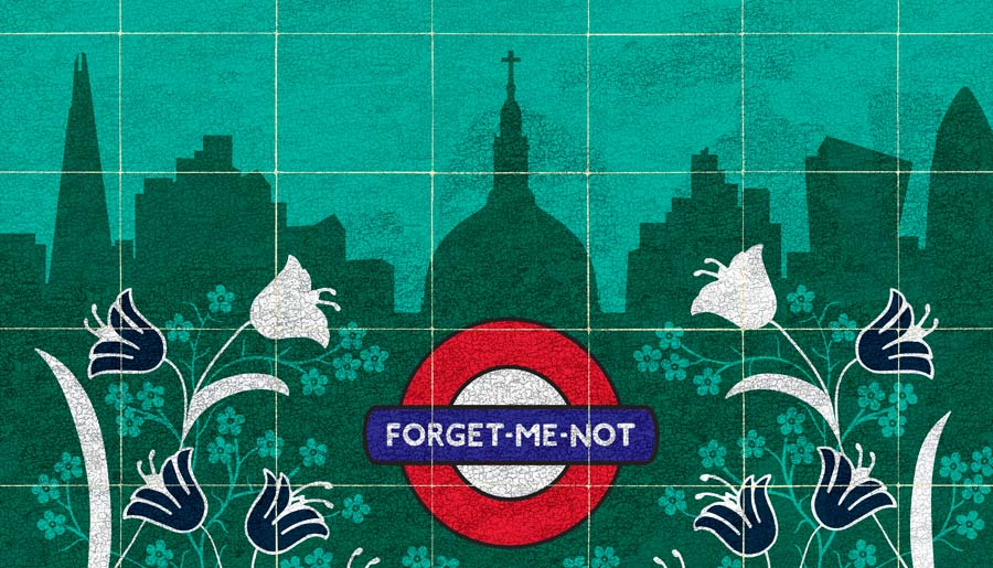 kati-lacey-illustration-editorial-conceptual-poster-postmans park-Watts-memorial-Victorian-everyday-heroes-flowers-garden-businessman-park-tulips-london-underground-suitcase