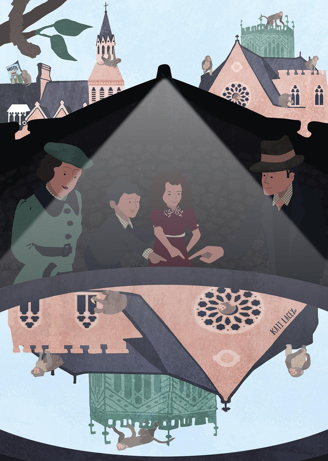secret-bristol-clifton-college-suspension-bridge-camera-obscura-cameraobscura-city- scene-cityscene-chaos-manic-1930s-family-illustration-art-print-katilacey