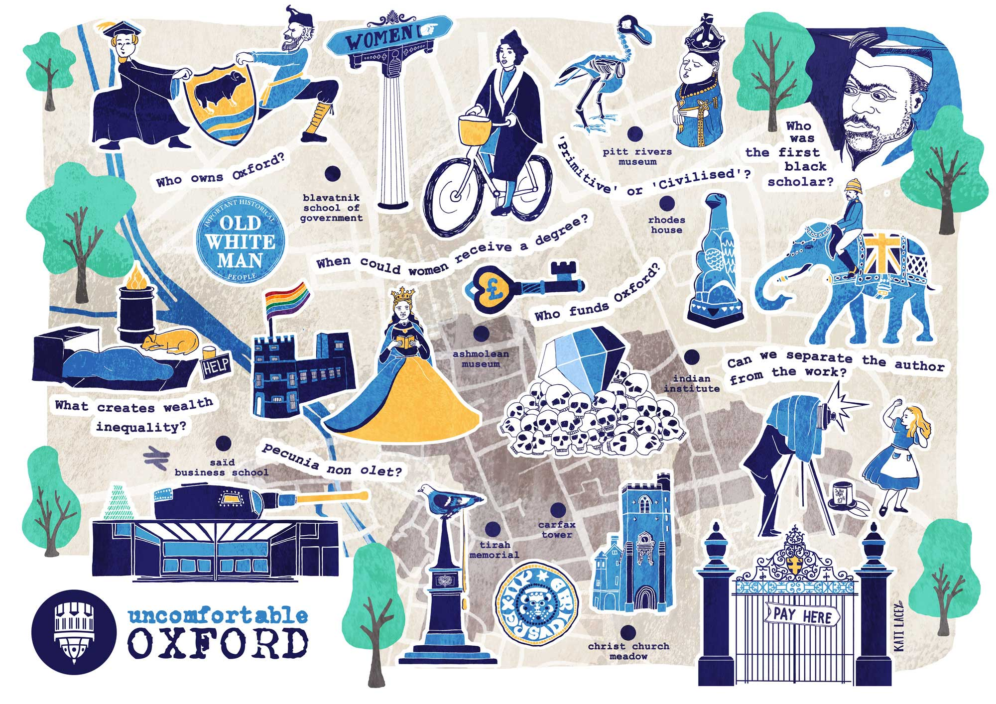 Uncomfortable Oxford Map -fun illustrated map of Oxford- historical facts about Oxford- Oxford histories - Kati Lacey freelance illustrator Oxford