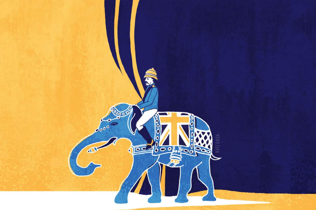 UncomfEMPIRE-TOUR_Uncomfortable-Oxford-Indian elephant- british officer - british flag