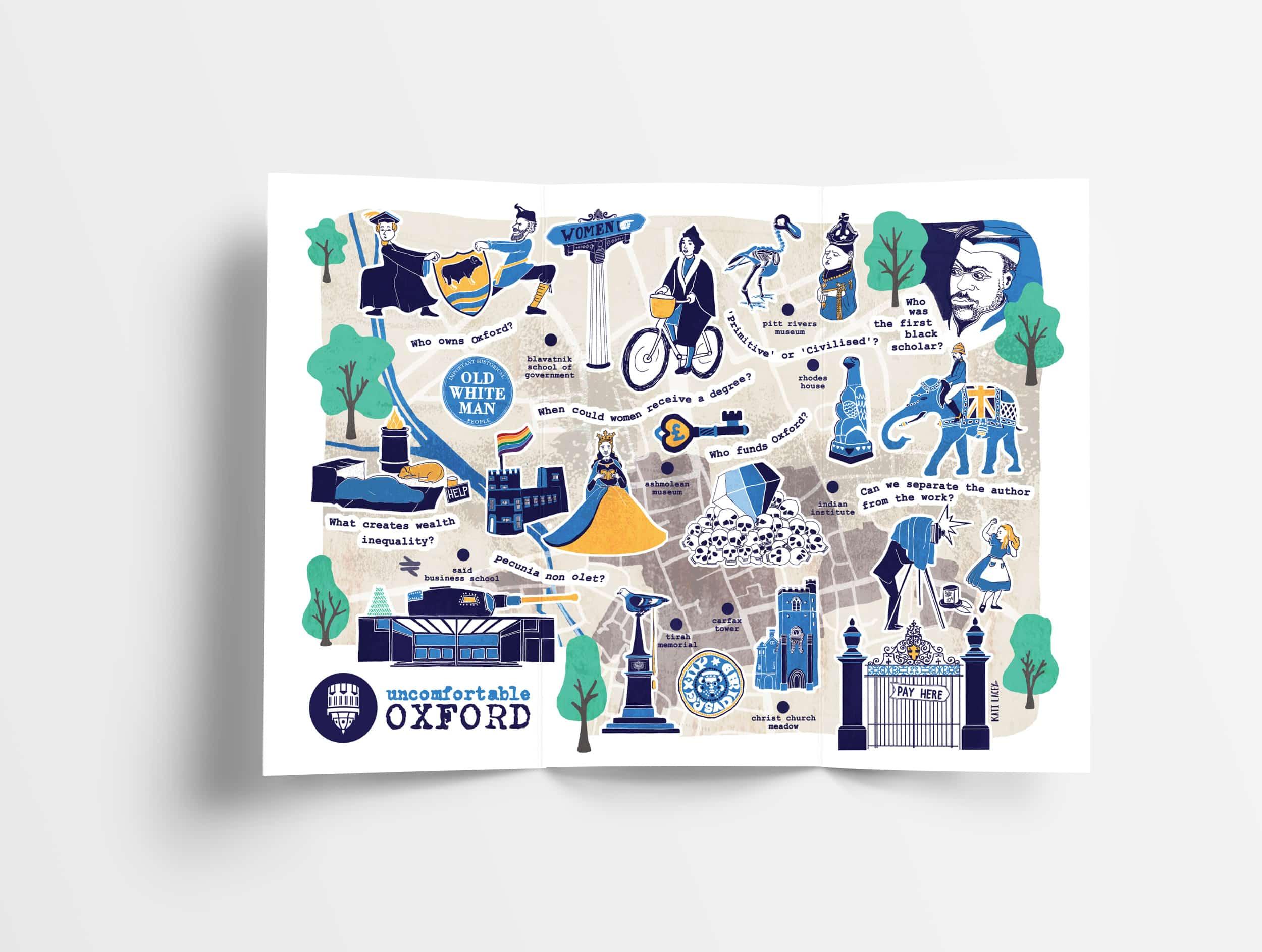 Illustrated-Oxford-map Uncomfortable Oxford Map -fun illustrated map of Oxford- historical facts about Oxford- Oxford histories - Kati Lacey freelance illustrator Oxford