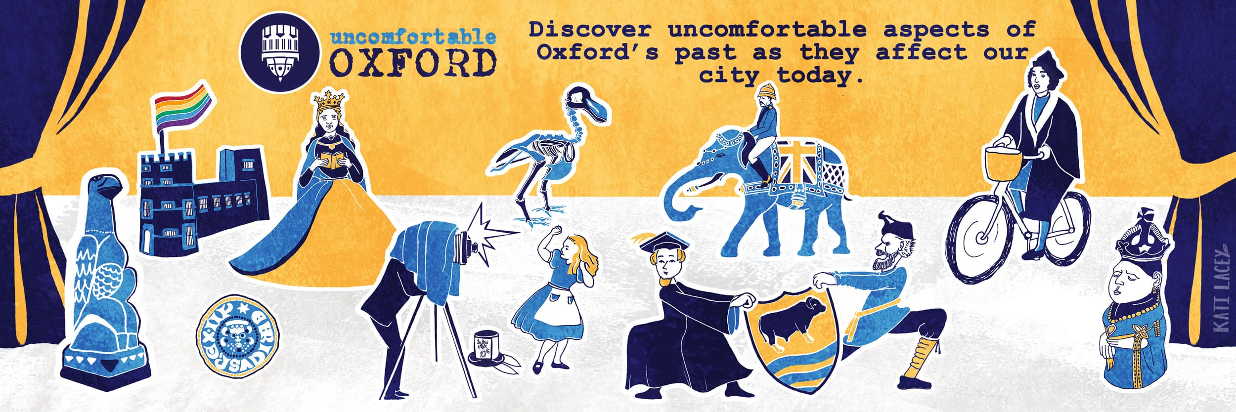 town-and-gown-divide-social-media-banner-illustration-uncomfortable-oxford-historical-figures-portraits-histories-stories drawn-kati-lacey-illustration