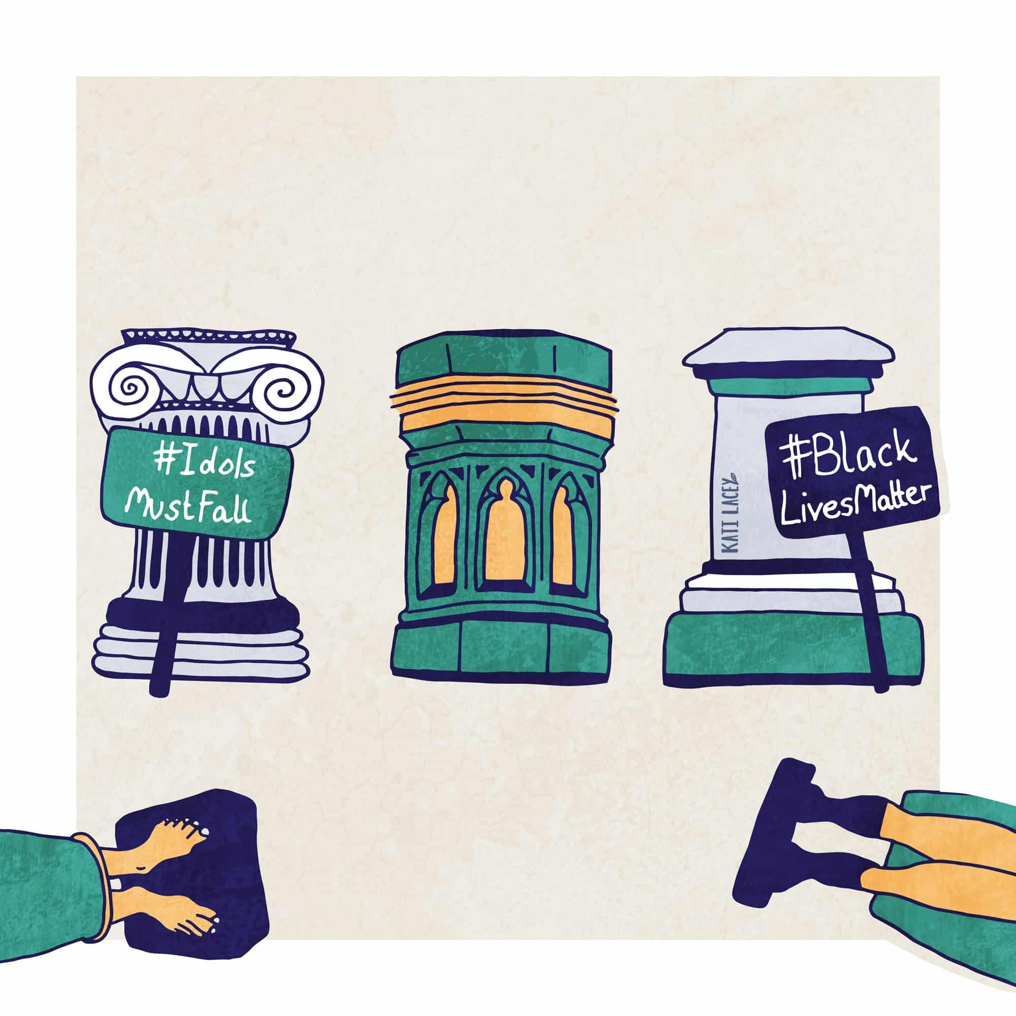 Editorial illustration showing empty plinths with statues fallen off - the plinths are from different times through history referencing the tradition of toppling statues