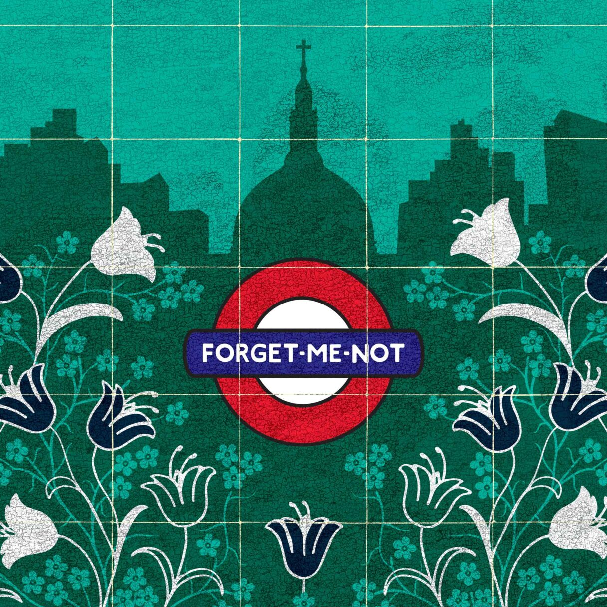 kati-lacey-illustration-editorial-conceptual-poster-postmans park-Watts-memorial-Victorian-everyday-heroes-flowers-garden-businessman-park-tulips-london-underground-suitcase-tiles-illustration