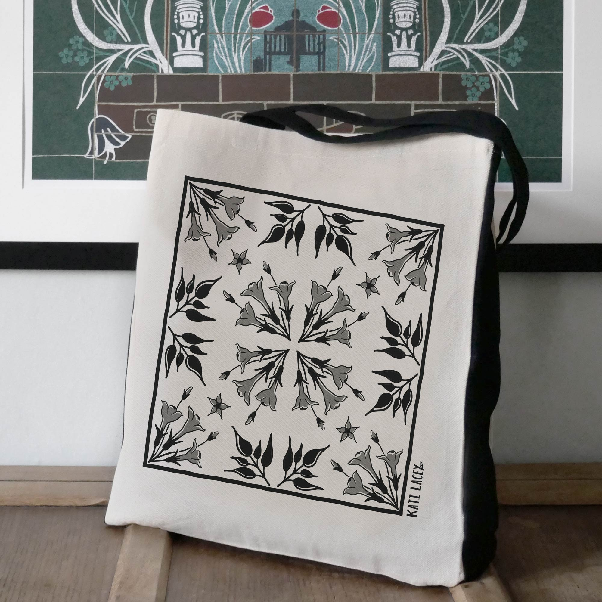 Iznik inspired black and white tile design on large two-tone shopper with Jasmine floral design
