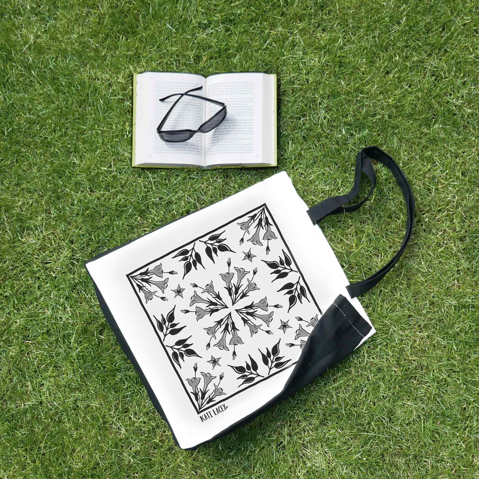 Iznik inspired black and white tile design on large two-tone shopper with Jasmine floral design