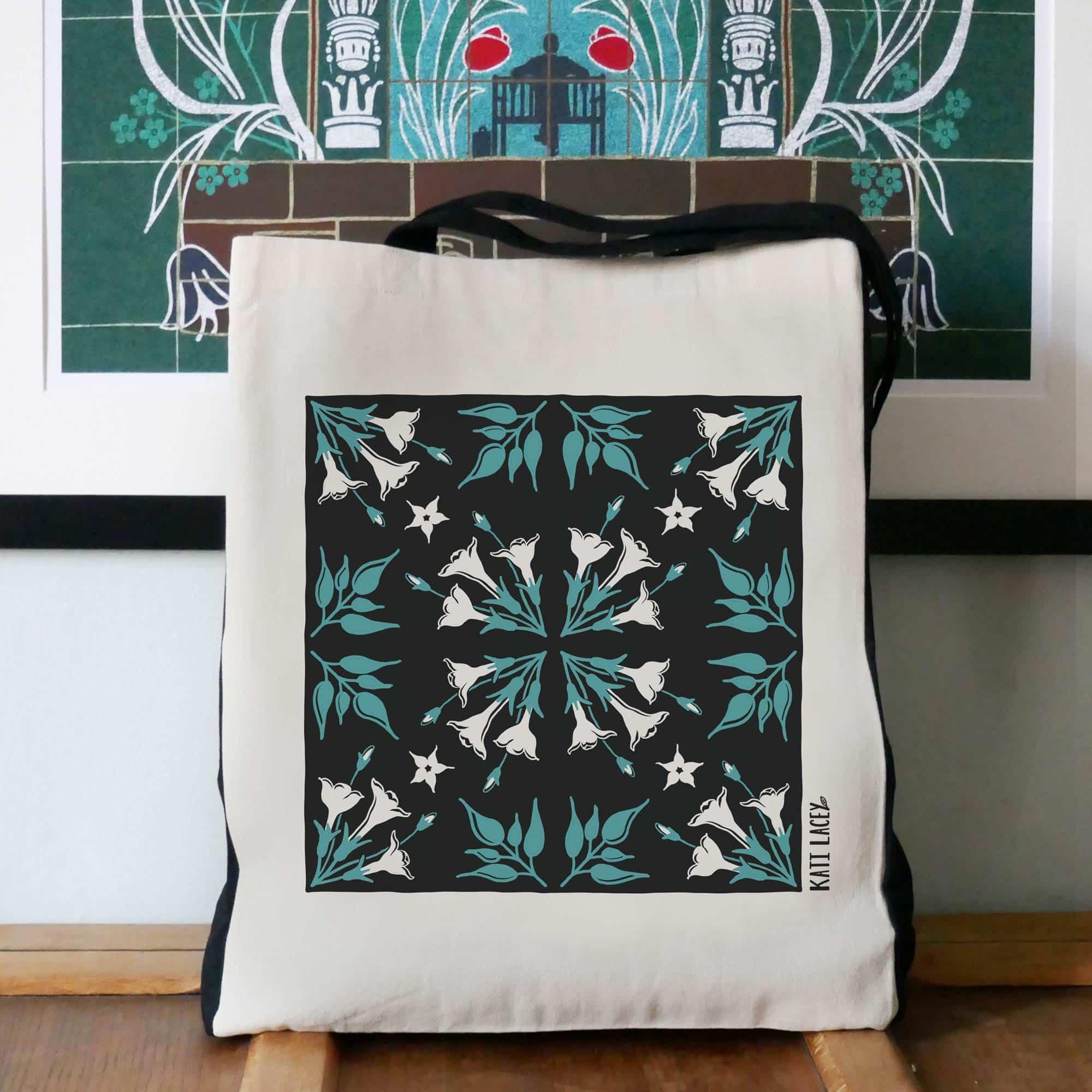 Iznik inspired teal & black tile design on large two-tone shopper with Jasmine floral design