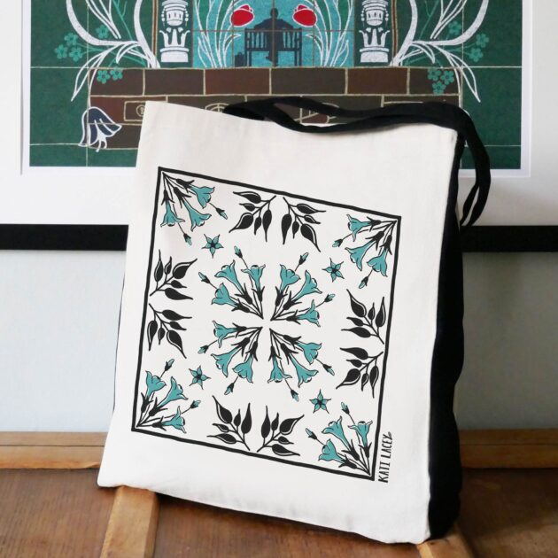 Iznik inspired teal & black tile design on large two-tone shopper with Jasmine floral design