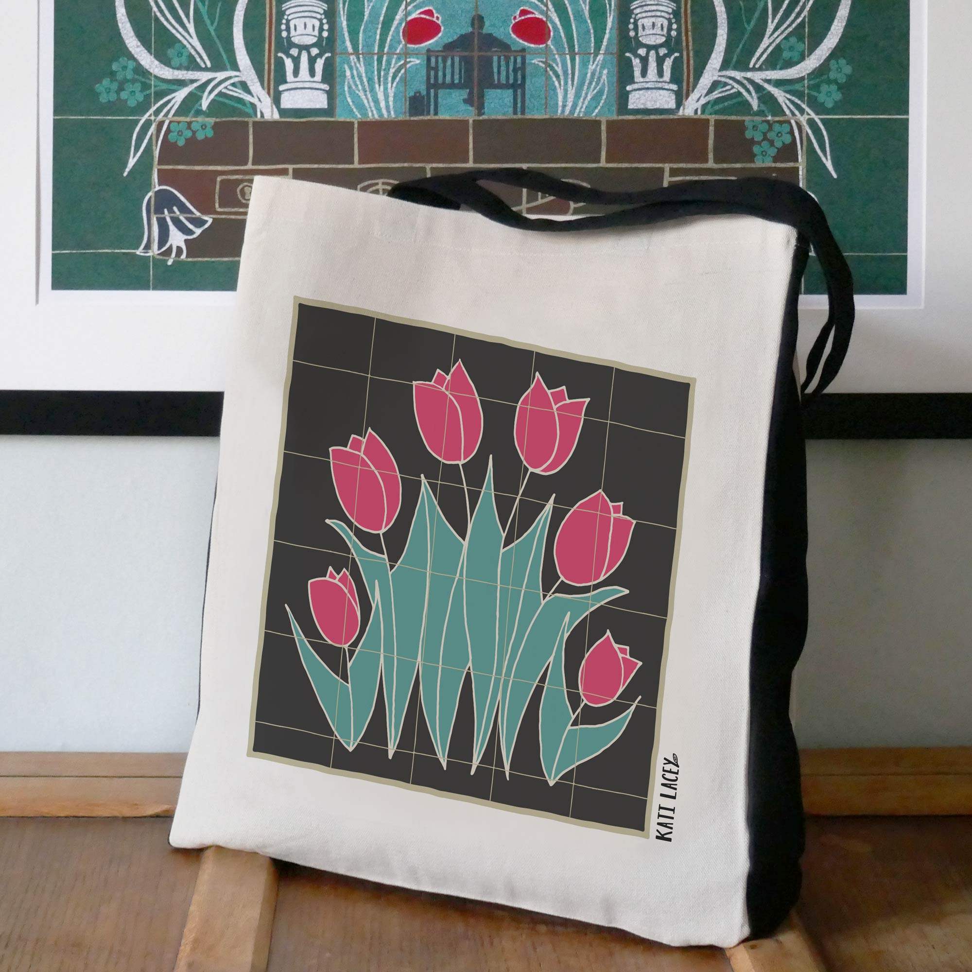 Red tulip luxury shopper; a sizable heavy weight shopper bag that features a graceful tulip tile design.