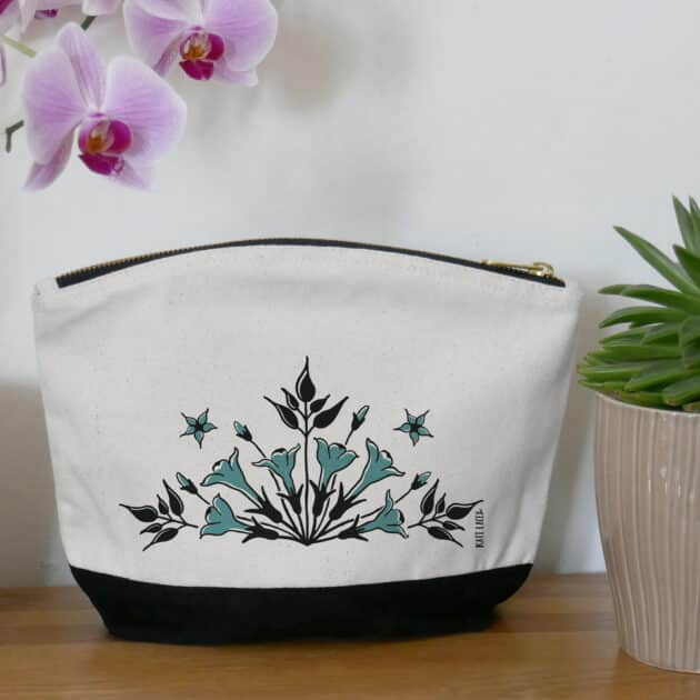 floral pouch-iznik-inspired-jasmine-design-strong-eco-friendly-fabric-two-tone-pouch-pencil-sace-washbag