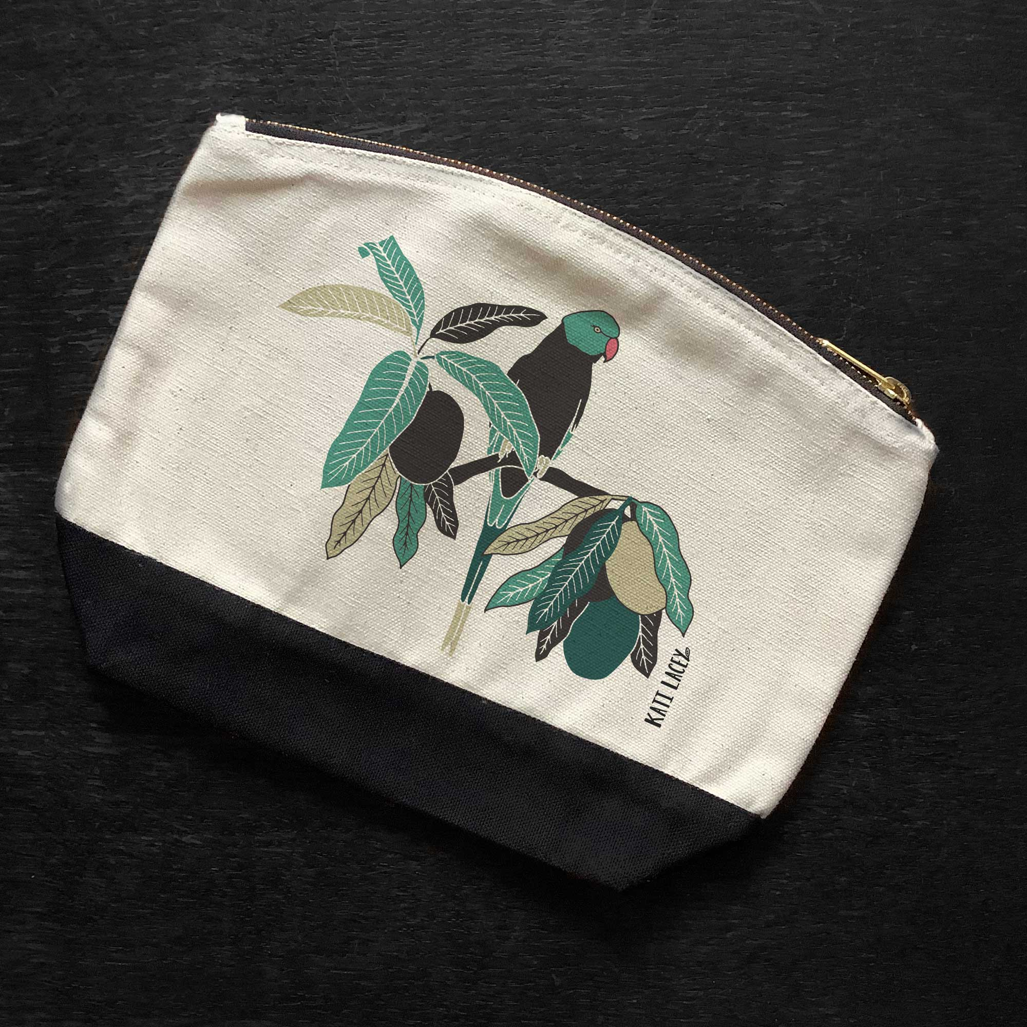 Parakeet on pouch-washbag-toiletry bag-pencil case-make up bag-storage bag for travel-medication bag-luxury