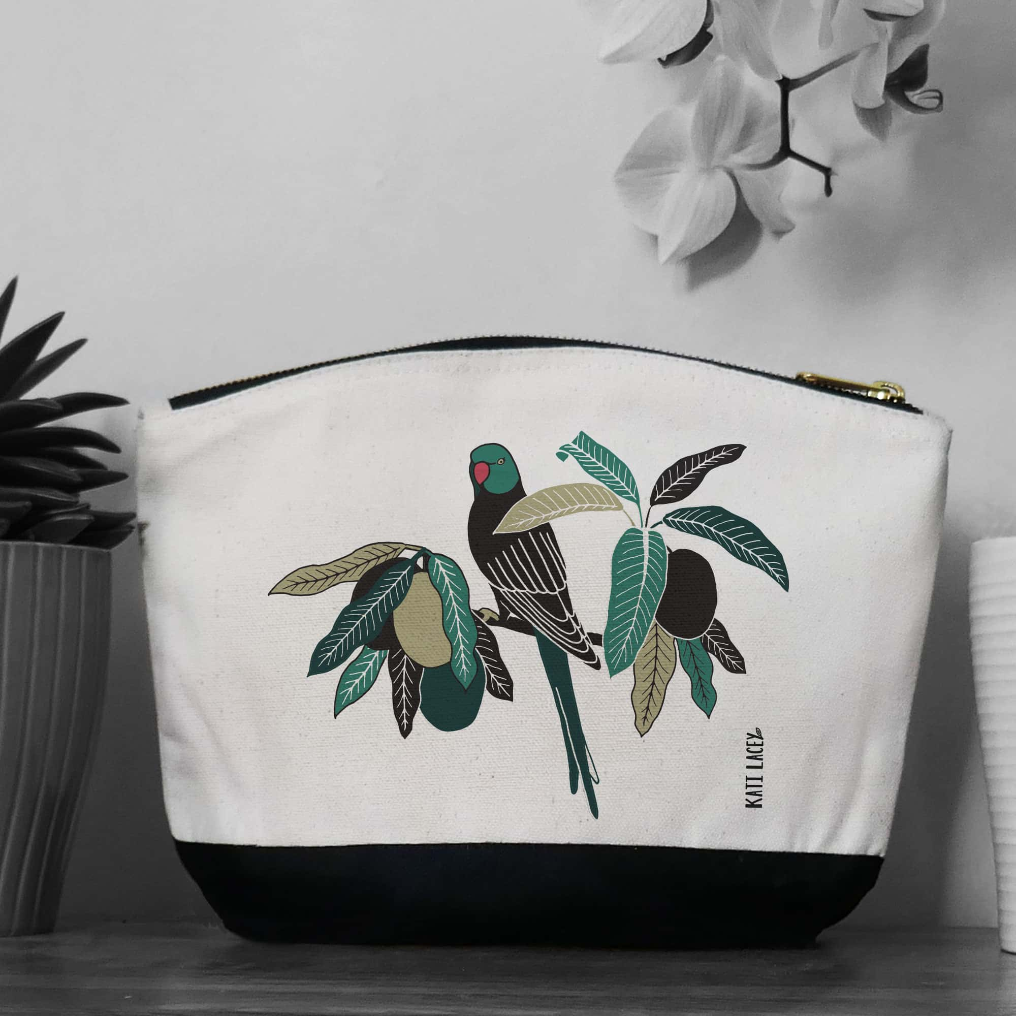 Parrot on pouch-washbag-toiletry bag-pencil case-make up bag-storage bag for travel-medication bag-pouch-luxury-eco-friendly cotton-sustainable
