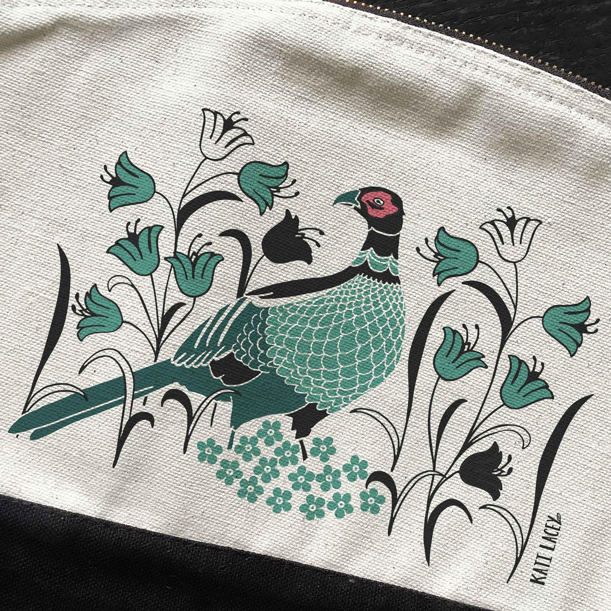 Pheasant on pouch-washbag-toiletry bag-pencil case-make up bag-storage bag for travel-medication bag-luxury