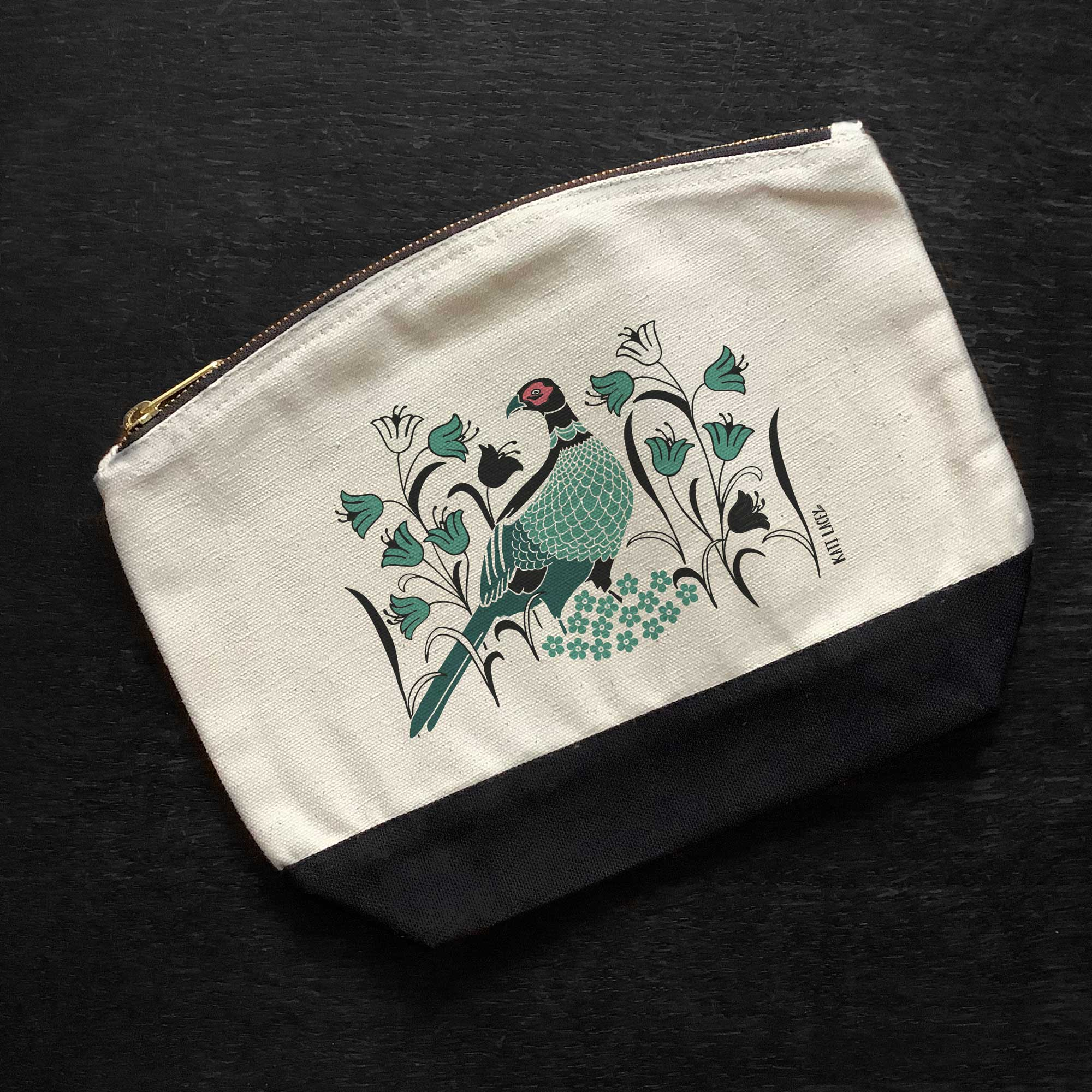 Pheasant on pouch-washbag-toiletry bag-pencil case-make up bag-storage bag for travel-medication bag-luxury