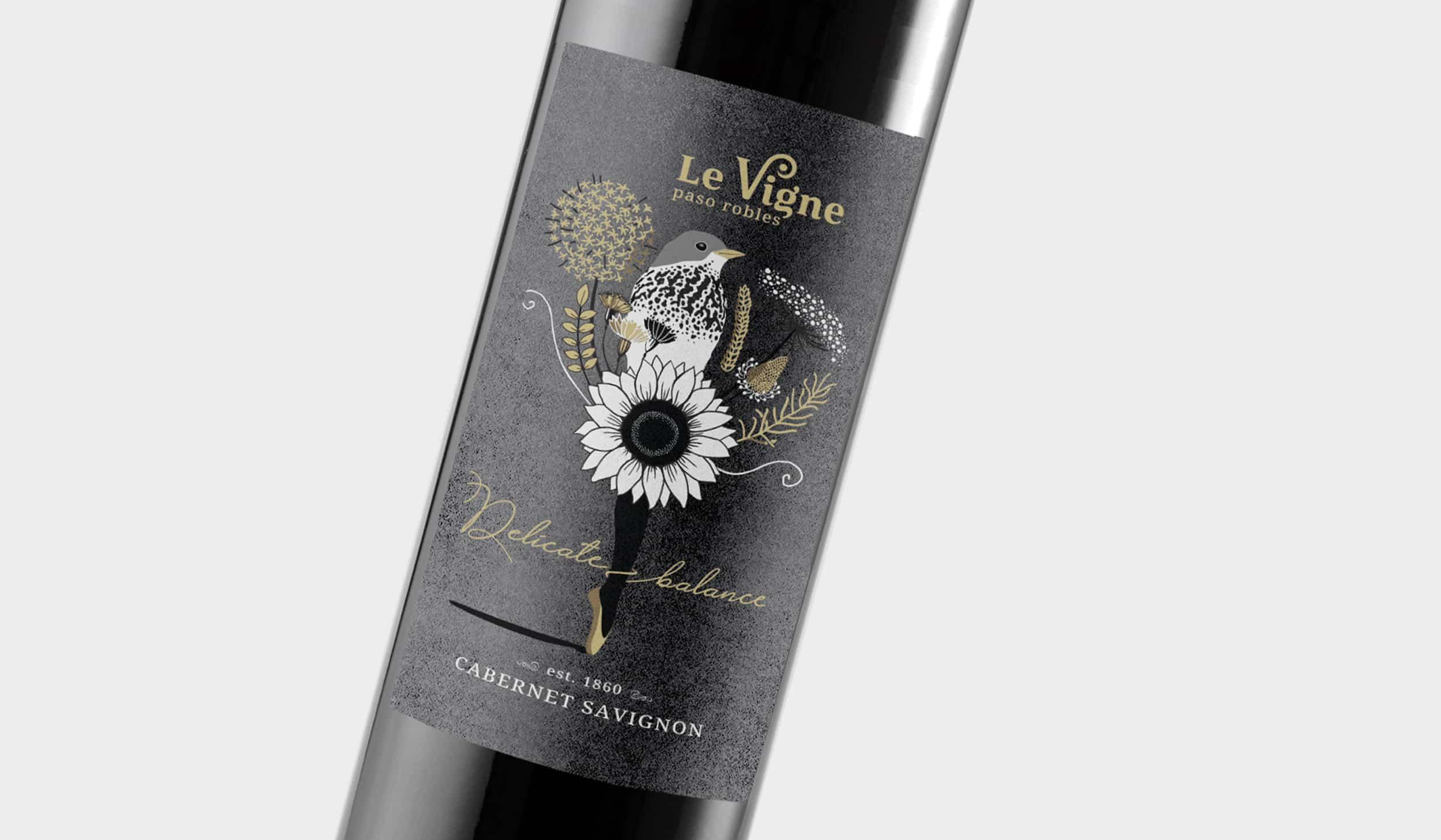 wine label randing design-organic farming-wild flowers-organic vineyard-delicate balance