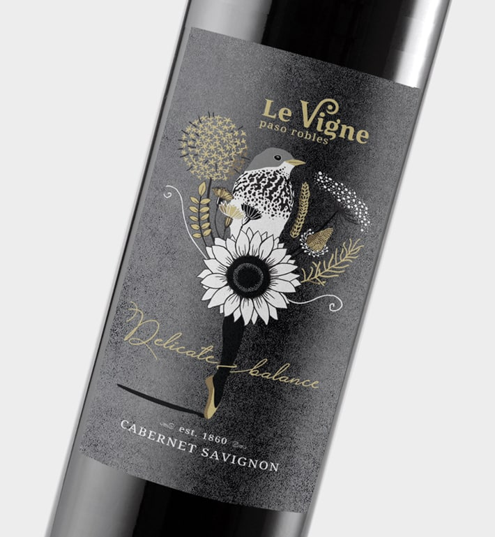 Red wine label illustration