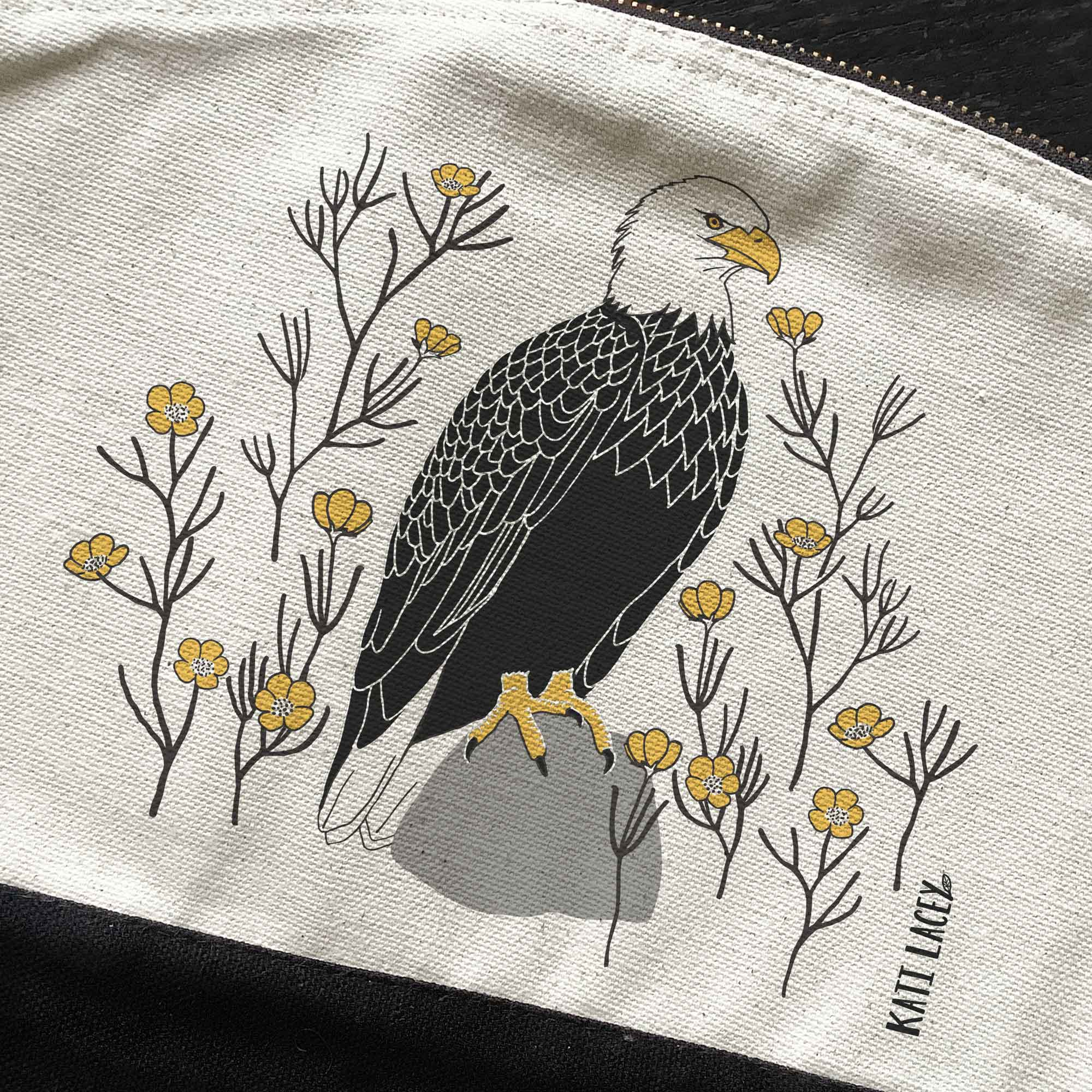 Bald eagle-White Eagle- on pouch-washbag-toiletry bag-pencil case-make up bag-storage bag for travel-medication bag-pouch-luxury-eco-friendly cotton-sustainable