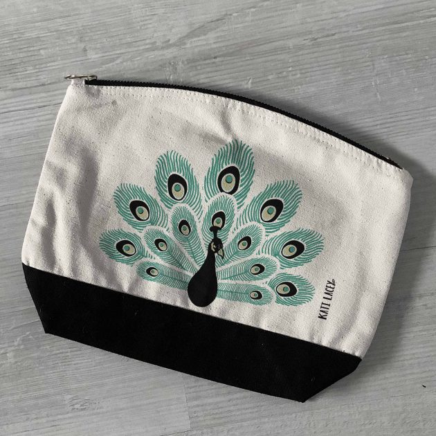 Peacock on pouch-washbag-toiletry bag-pencil case-make up bag-storage bag for travel-medication bag-pouch-luxury-eco-friendly cotton-sustainable