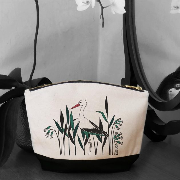 Stork amongst reed on pouch-washbag-toiletry bag-pencil case-make up bag-storage bag for travel-medication bag-pouch-luxury-eco-friendly cotton-sustainable