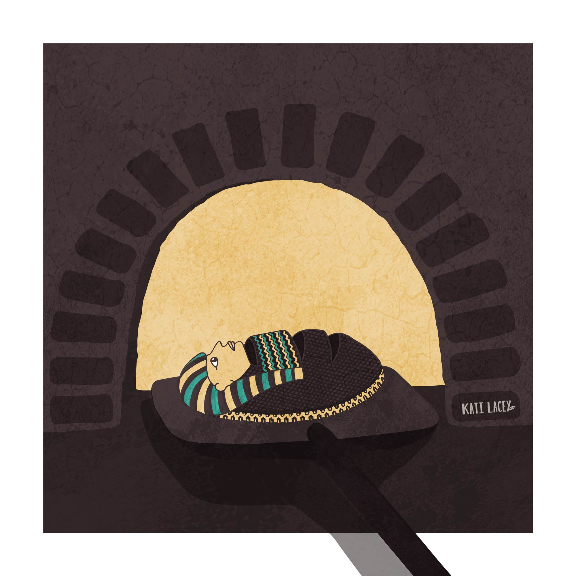 Editorial illustration for an article about tasting history though bread baked with ancient yeast depicting a loaf of bread that also looks like an Egyptian mummy being taken out of a hot oven. Grain, Eating, Healthy Lifestyle, Recipe, Food, Vegetarian, Vegan, Seamus Blackley, Egypt-Egyptian-Ancient