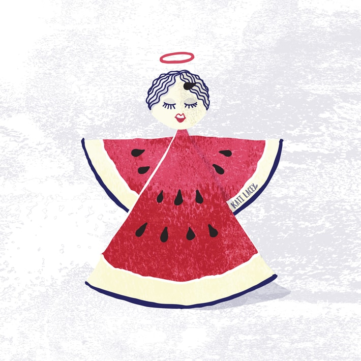 """Mark Twain quote illustration """"When one has tasted watermelon, he knows what the angels eat."""" -Mark Twain"""
