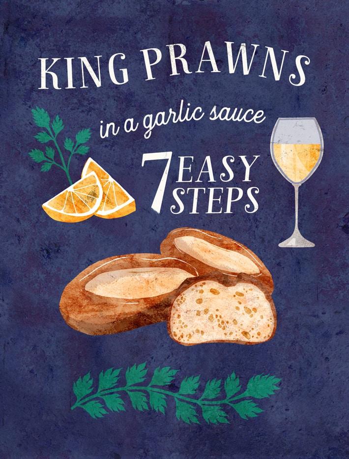 illustrated-seafood-recipe-king-prawns-garlic-bread-lemon-cream-parsley