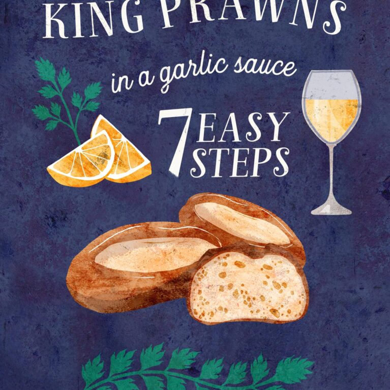 FOOD ILLUSTRATION // KING PRAWNS IN CREAM SAUCE 7 EASY STEPS